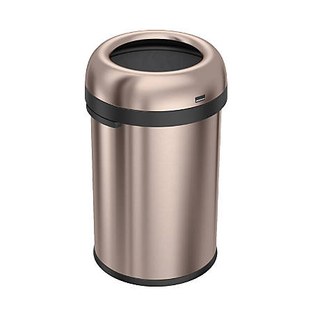simplehuman® Bullet Open Trash Can, 30 Gallons, Rose Gold Steel
