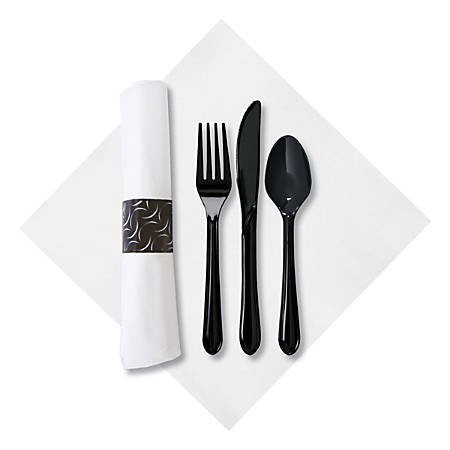 CaterWrap Pre-Rolled Cutlery, Crescent FashnPoint Napkin, Black/White, Case Of 100 Rolls