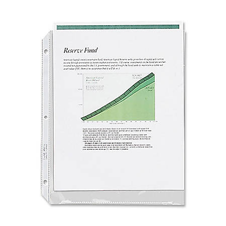 """C-Line® High-Capacity Top-Loading Sheet Protectors, 8 1/2"""" x 11"""", Crystal Clear, Box Of 25"""