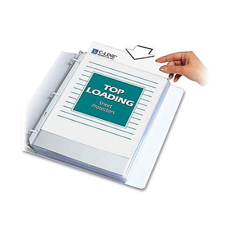 "C-Line® Polypropylene Top-Loading Sheet Protectors, 8 1/2"" x 11"", Standard Weight, Nonglare, Box Of 100"
