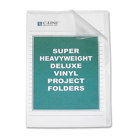 C-Line® Non-Glare Vinyl Project Folders, Legal Size, Clear, Box Of 50