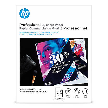 "HP Professional Brochure Paper, Glossy, Letter Size (8 1/2"" x 11""), 48 Lb, Pack Of 150 Sheets"