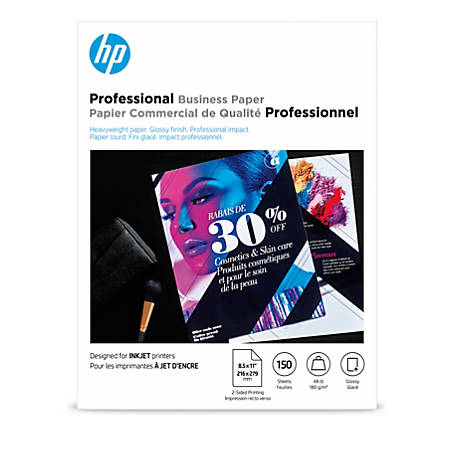 "HP Professional Business Paper for Inkjet and Laser Printers, Glossy, Letter Size (8 1/2"" x 11""), Heavyweight 48 Lb, Pack Of 150 Sheets (Q1987A)"