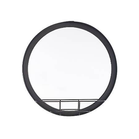 Zuo Modern Round Mirror With Shelf, Antique Black