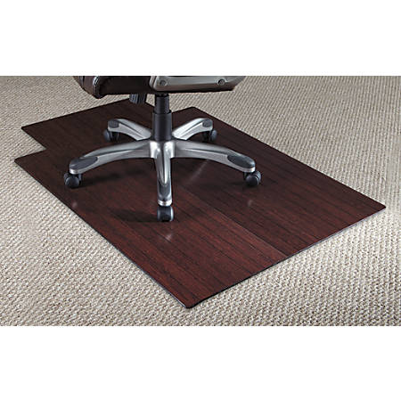 "Realspace® Bamboo Chair Mat, 36""W x 48""D, 3/16"" Thick, Dark Cherry"