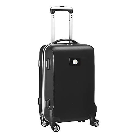 """Denco 2-In-1 Hard Case Rolling Carry-On Luggage, 21""""H x 13""""W x 9""""D, Pittsburgh Steelers, Black"""