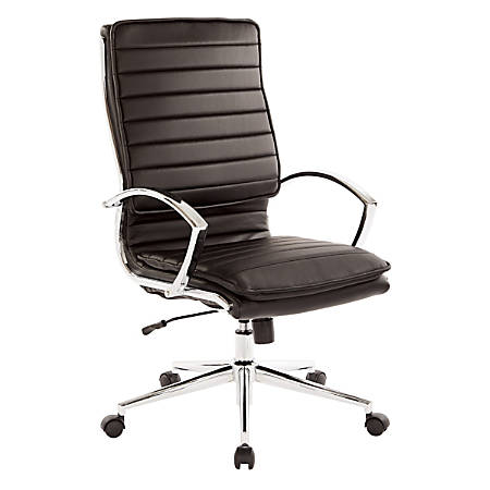 Office Star™ Pro-Line II™ SPX Series Bonded Leather High-Back Chair, Black/Chrome