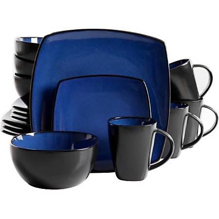 Gibson Home Soho Lounge 16-Piece Dinnerware Set, Blue/Black