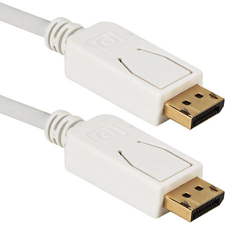 QVS 6ft DisplayPort Digital A/V UltraHD 4K White Cable with Latches - 6 ft DisplayPort A/V Cable for Projector, Monitor - First End: 1 x DisplayPort Male Digital Audio/Video - Second End: 1 x DisplayPort Male Digital Audio/Video - 1.35 GB/s