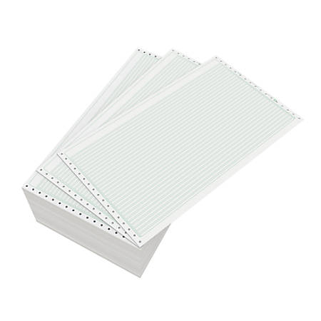 "Domtar Continuous Form Paper, Unperforated, 14 7/8"" x 8 1/2"", 18 Lb, 1/8"" Green Bar, Box Of 3,000 Forms"