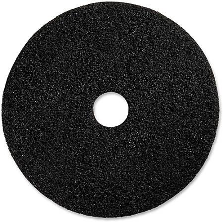 "Genuine Joe Black Floor Stripping Pad - 17"" Diameter - 5/Carton x 17"" Diameter x 1"" Thickness - Fiber - Black"