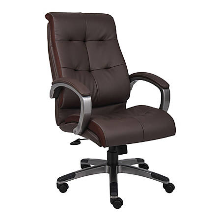 Lorell® Tufted Executive Bonded Leather Swivel Chair, Brown