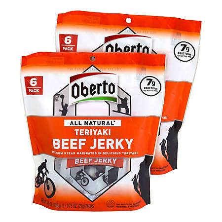 Oberto All Natural Teriyaki Beef Jerky, 4.5 Oz, Pack Of 2 Bags