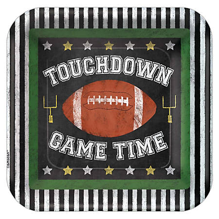 """Amscan Paper Football Game Time Square Plates, 7"""", Multicolor, 3 Per Pack, Case Of 18 Packs"""