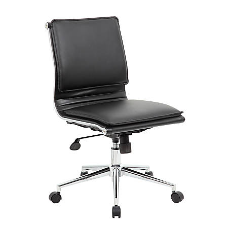 Boss Elegant Faux Leather High-Back Task Chair, Black
