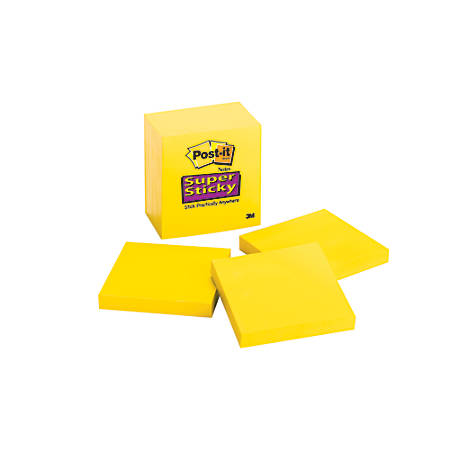 """Post-it® Super Sticky Notes Single Color, 3"""" x 3"""", Electric Yellow, Pack Of 5 Pads"""