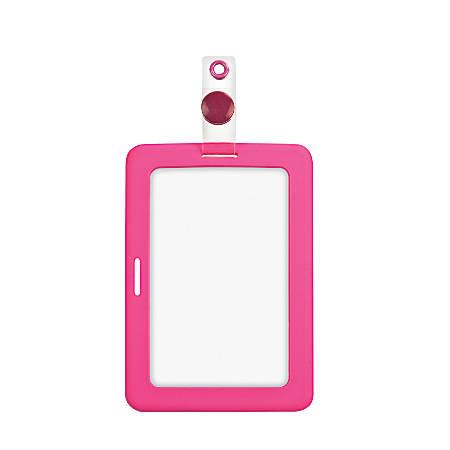 "MyID Rubberized Cardholder, 4"" x 2 7/8"", Pink"