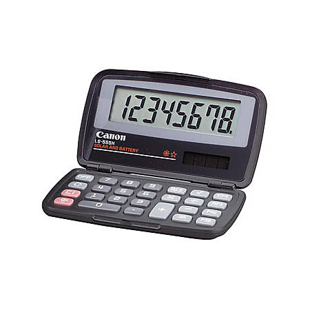 """Canon LS555H Wallet Calculator - Hard Shell Cover, Auto Power Off - 8 Digits - LCD - Battery/Solar Powered - 4.3"""" x 2.9"""" x 0.6"""" - Black - 1 Each"""