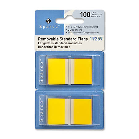 "Sparco Removable Standard Flags In Pop-Up Dispenser, 1 3/4"" x 1"", Yellow, Pack Of 100"