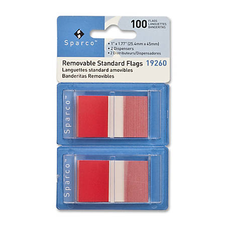"""Sparco Removable Standard Flags In Pop-Up Dispenser, 1 3/4"""" x 1"""", Red, Pack Of 100"""