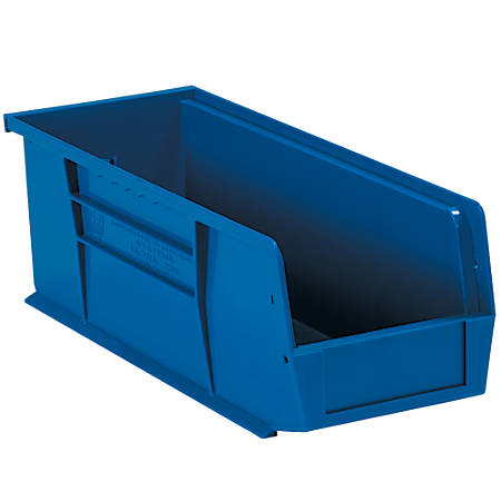 """Office Depot® Brand Plastic Stack And Hang Bin Boxes, 14 3/4"""" x 5 1/2"""" x 5"""", Blue, Pack Of 12"""