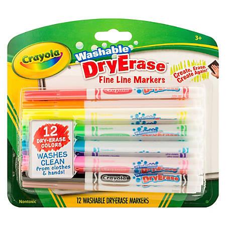 Crayola Washable Dry Erase Fine Line Markers - Fine Marker Point - Bullet Marker Point Style - Assorted - 12 / Set