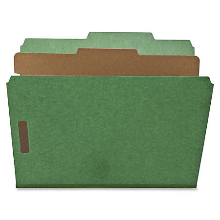 Nature Saver 1-Divider Colored Classification Folders, Letter Size, Green, Box Of 10