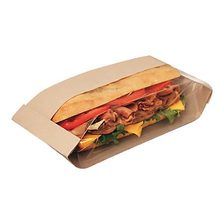 "Bagcraft Dubl View® Sandwich Bags, 10 3/4""H x 3 1/2""W x 2 1/4""D, Clear/Natural Brown, Carton Of 500 Bags"