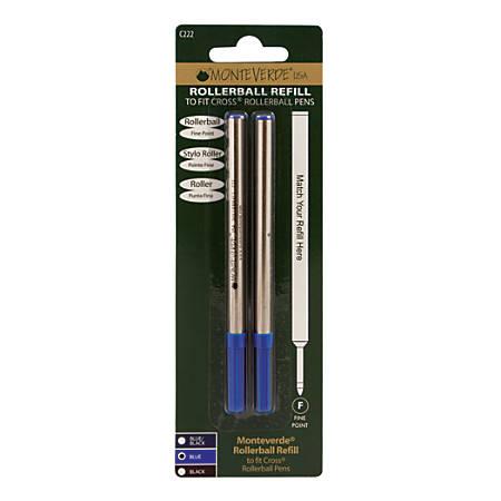 Monteverde® Rollerball Refills For Cross Rollerball Pens, Fine Point, 0.5 mm, Blue, Pack Of 2 Refills