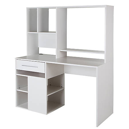 South Shore Annexe Computer Desk With Hutch, Pure White