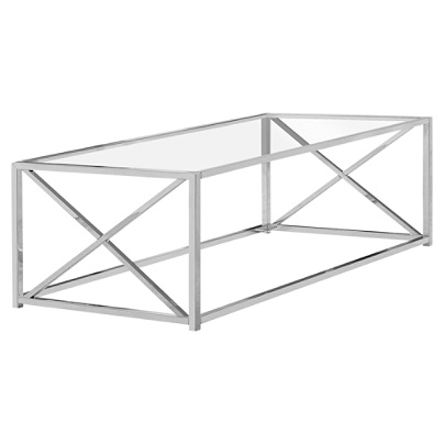 Monarch Specialties Glass Coffee Table Rectangular Chrome Office