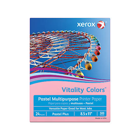 Xerox® Vitality Colors™ Pastel Plus Multipurpose Printer Paper, Letter Size, 24 Lb, 30% Recycled, Pink, Ream Of 500 Sheets