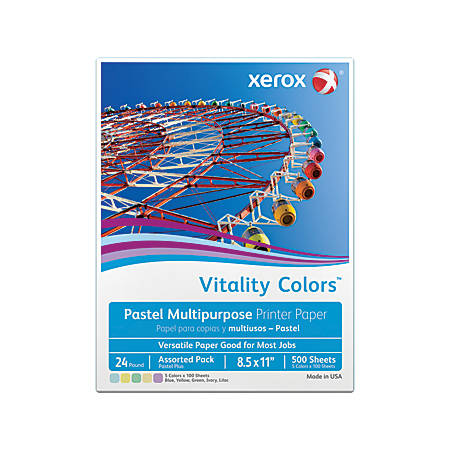 Xerox® Vitality Colors™ Pastel Plus Multipurpose Printer Paper, Letter Size, 24 Lb, 30% Recycled, Assorted, Ream Of 500 Sheets