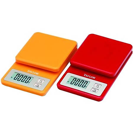 Taylor 3817 Compact Digital Kitchen Scale - 11 lb / 5 kg Maximum Weight Capacity - Red