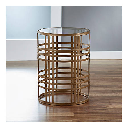FirsTime & Co.® Woven Brass Side Table, Round, Clear/Antique Gold