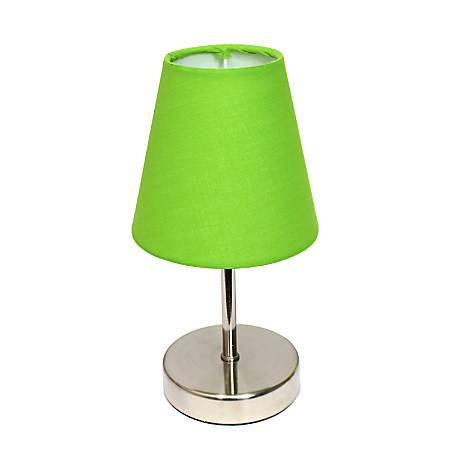 "Simple Designs Mini Basic Table Lamp, 10"", Green Shade/Sand Nickel Base"