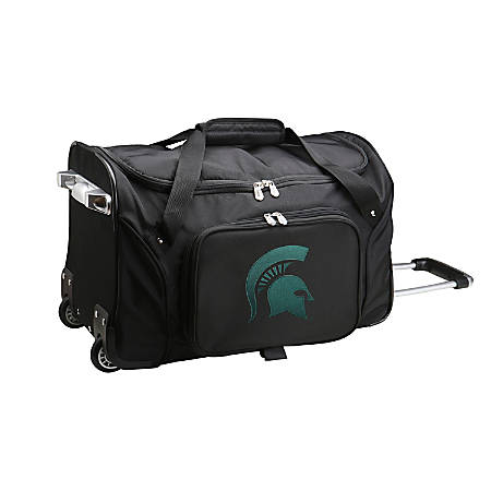Denco Sports Luggage Rolling Duffel Bag, Michigan State Spartans, Black