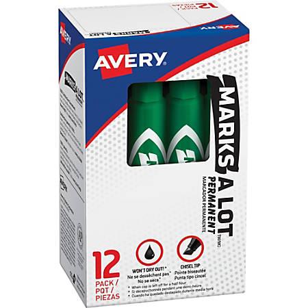 Avery® Regular Desk Style Permanent Markers - Regular Marker Point - 4.7625 mm Marker Point Size - Chisel Marker Point Style - Green - Green Plastic Barrel - 1 Dozen