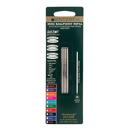 Monteverde® Mini Ballpoint Pen Refills, Medium Point, 0.7 mm, Brown Ink, Pack Of 4