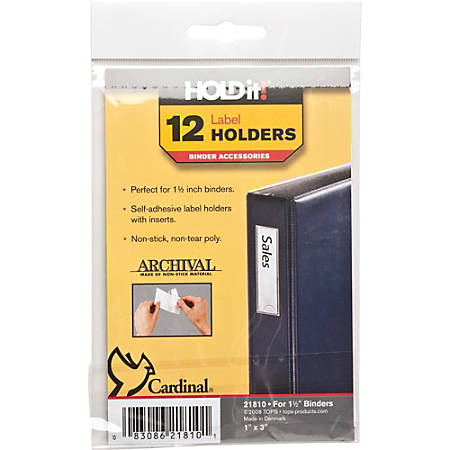 """Cardinal® HOLDit!® Label Holders, 1"""" x 3"""", Pack Of 12"""