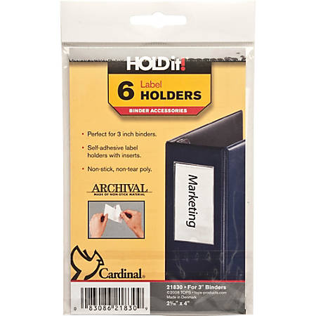 "Cardinal® HOLDit!® Label Holders, 2 3/16"" x 4"", Pack Of 6"