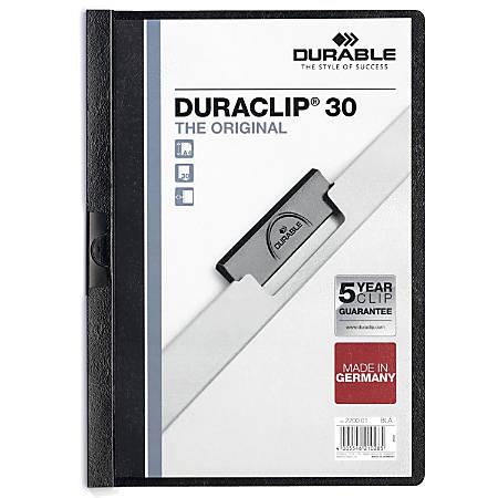 "Durable Duraclip® 30 Report Covers, 8 1/2"" x 11"", Black"