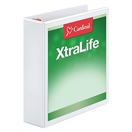 """Cardinal® XtraLife® Locking Slant-D® Ring Binder, 2"""" Rings, 52% Recycled, White"""