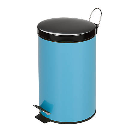 Honey-Can-Do Steel Step Trash Can, 3.2 Gallons, Robin's Egg Blue