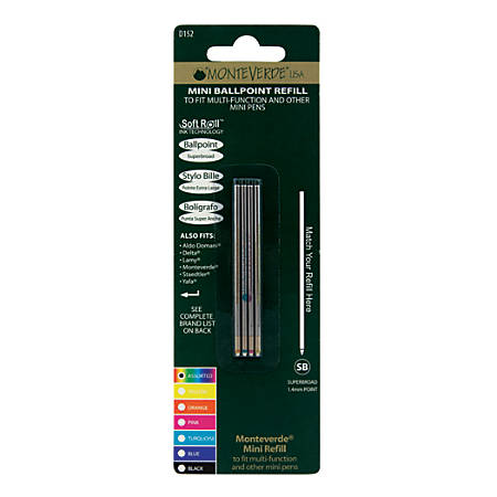 Monteverde® Mini Ballpoint Pen Refills, Super Broad Point, 1.4 mm, Assorted Ink Colors, Pack Of 4