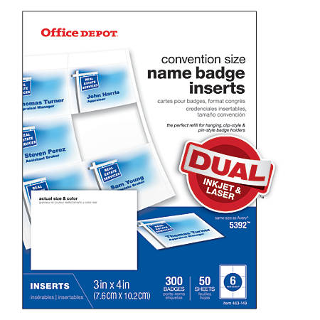 """Office Depot® Brand Badge Inserts, 3"""" x 4"""", White, Pack Of 300"""