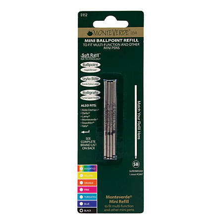 Monteverde® Mini Ballpoint Pen Refills, Super Broad Point, 1.4 mm, Black Ink, Pack Of 4
