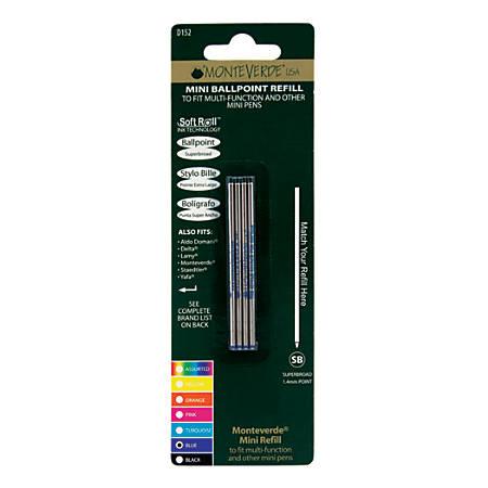 Monteverde® Mini Ballpoint Pen Refills, Super Broad Point, 1.4 mm, Blue Ink, Pack Of 4