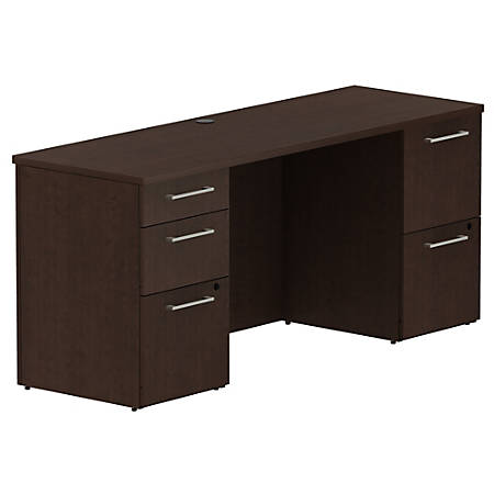 "Bush Business Furniture 300 Series Office Desk With 2 Pedestals 66""W, Mocha Cherry, Standard Delivery"