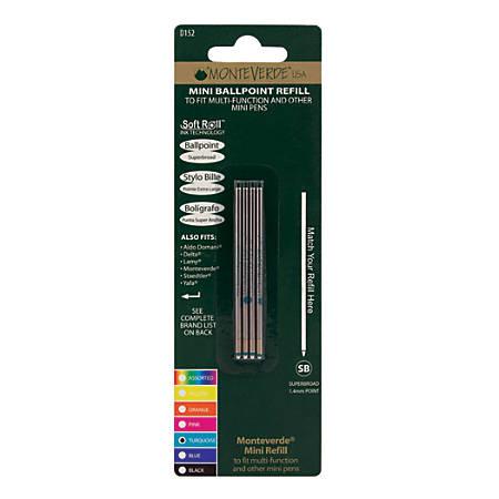 Monteverde® Mini Ballpoint Pen Refills, Super Broad Point, 1.4 mm, Turquoise Ink, Pack Of 4